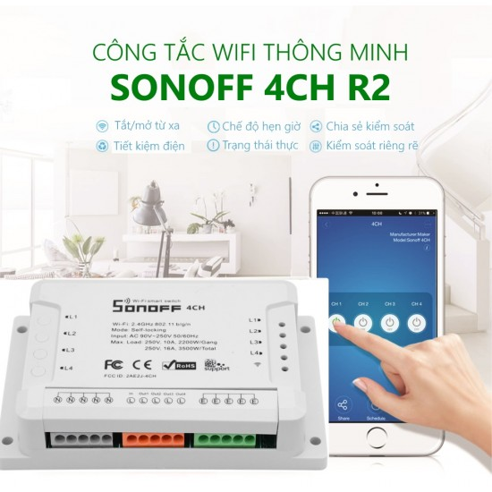 4CH R2 - công tắc WiFi 4 cổng Sonoff chính hãng