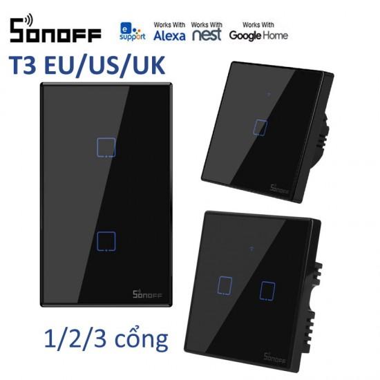 T3 1/2/3 cổng chuẩn EU/US - Công tắc WiFi RF cảm ứng