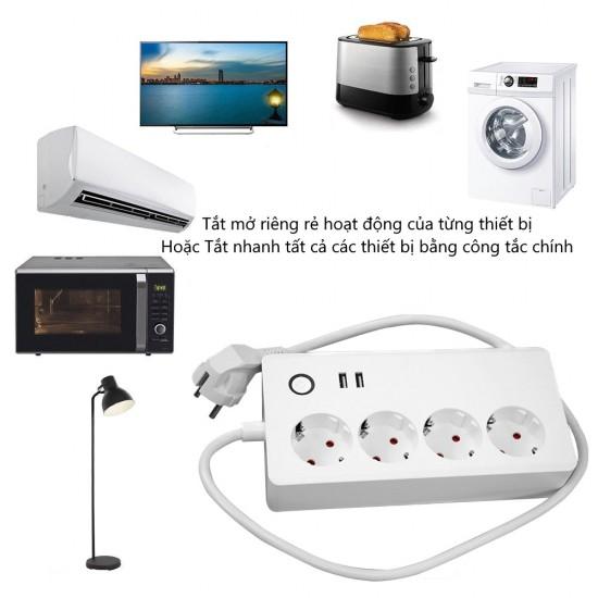 EPS2EU - Ổ cắm WiFi thông minh 4 cổng 2 USB